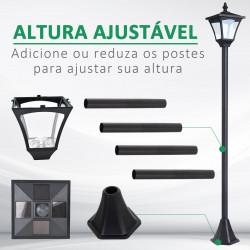 Outsunny Farol de jardim clássica IP44 com luzes solares inteligentes LED 15x15x120 cm preto