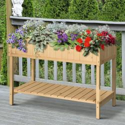 Outsunny Floreira de madeira elevada Jardim urbano para o cultivo de plantas Flores com prateleira inferior 120x60x81 cm