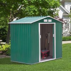 Outsunny Galpão de jardim Exterior de Aço com porta deslizante grande espaço de armazenamento 213x127x185 cm Verde