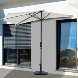 Outsunny Guarda-sol de jardim com manivela formato semicircular para varanda 269x138x236 cm creme