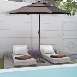 Outsunny Guarda sol de Jardim Ø300x250cm com Luzes LED e Painel Solar Manivela Ajustável em 3 Posições Para Pátio varanda Piscina cor Café