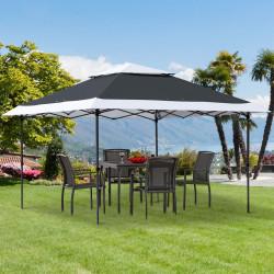 Outsunny Pérgola para festas 3,5 x 3,5 m altura ajustável em 3 posições com teto duplo e bolsa de transporte com rodas de aço para jardim externo Cinza e Branco