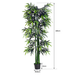 Outsunny Planta Decorativa Sintética de Bambu Artificial 180cm