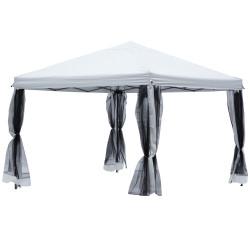 Outsunny Tenda Dobrável 3x3m Redes mosquiteiras Removível com zíper 4 orificios de drenagem tecido oxford 420D Branco