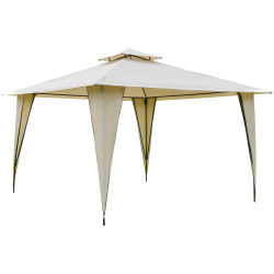 Outsunny Tenda Gazebo com teto duplo e 8 orifícios de drenagem para festas ao ar livre jardim 3,5 x 3,5 m bege