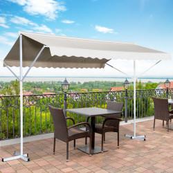 Outsunny Toldo 300x300x250 cm com manivela ângulo ajustável proteção solar portátil para jardim terraço pátio bege