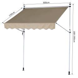 Outsunny Toldo portátil Pátio Varanda Toldo Manual Dobrável de Alumínio Altura ajustável com manivela para jardim terraço ao ar livre 3x1.5m