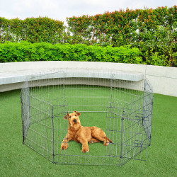 Parque para Animais de estimação Vedação Curral 8 Vedações 63 x 76 cm + Porta Treino Cães