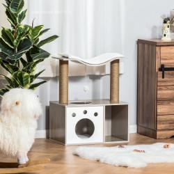 PawHut Árvore arranhador para gatos Altura 74 cm com Plataformas caverna poste para Coçar Bolas e Caixa de Armazenamento Cor Madeira Natural Branco