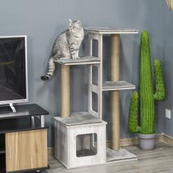 PawHut Árvore Arranhador para Gatos Arranhador de Gatos com Caverna Múltiplas Plataformas e Postes de Arranhar de Juta Brincadeira e Descanso 67x38,5x114cm Cinza