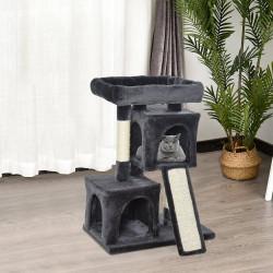 PawHut Árvore do gato com poste e placa de arranhão cavernas Cama macia 59x39x83 cm