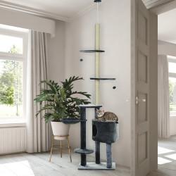 PawHut Árvore para arranhar para gatos 220-245 cm Altura Ajustável ao Teto com Plataformas Cinza Escuro