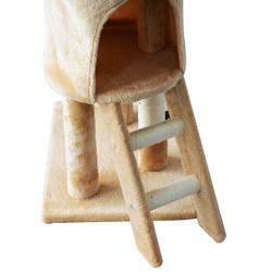 PawHut Árvore para gatos Arranhador Grande com Ninhos Plataformas Casotas Ratinho de Brincar 50x35x131 cm Revestido de Peluche Bege