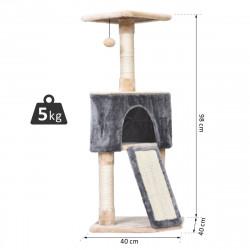 PawHut Árvore Raspador para Gatos Caverna Brinquedo Suspenso e Rampa 40x40x98 cm