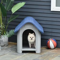 PawHut Casa para cães pequenos e mini para uso interno e externo com respiradouros 59x75x66 cm Azul e cinza