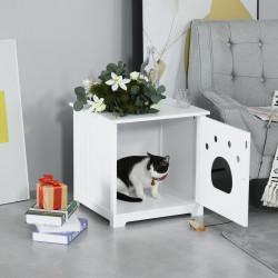 PawHut Casa para Gatos de Madeira Caixa de Areia para Gatos com Porta e Entrada em Forma de Garra para Descansar 48x51x51cm Branco
