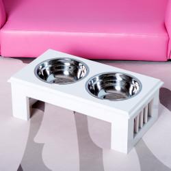 PawHut Comedouro elevado para cães com 2 tigelas removíveis de aço inoxidável 58,4x30,5x25,4 cm Branco