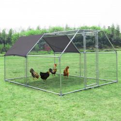 PawHut Galinheiro ao ar livre Gaiola para aves domésticas de metal galvanizado com fechadura e cobertura Oxford 280x380x195cm
