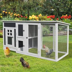 PawHut galinheiro exterior madeira integrada Bandeja Casa para galinhas Gaiola para Pequenos Animais Frango 160x75x80cm Alta Qualidade FÁCIL DE LIMPAR CONSTRUÇÃO DURÁVEL