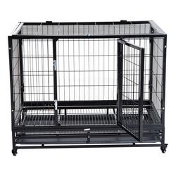 PawHut Jaula de Metal para Mascotes tipo Cão Grande com Rodas e Bandejas Removíveis - 92x62x75cm