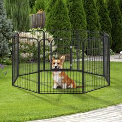 PawHut Parque para animais de estimação com 8 Varas Dobrável com Porta e Dupla Trava 79x100cm Preto