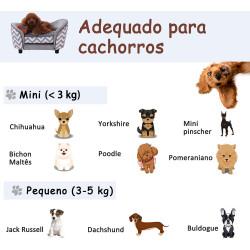 PawHut Sofá para animais de estimação acolchoado de madeira com almofadas grossas e bolso de armazenamento 68,5x40,5x40,5 cm cinza