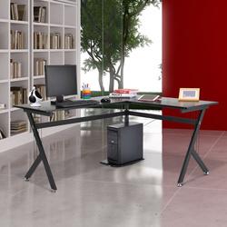 Secretária de PC Computador Secretária para Gabinete Móveis para Escritório- Cor: Preto - MDF E1 e Ferro Revestido de Pó - 155 x 130 x 76 cm