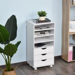 Vinsetto Móveis de escritório com 3 gavetas 4 prateleiras abertas 4 rodas 40x30x83 cm Branco