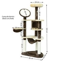 Arranhador Gato Altura 153 x 65 x 50 cm Árvore Poste para Arranhar Centro Atividades