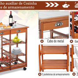 Carrinho Cozinha Serviço Auxiliar Madeira Metal Cromado Rodas Gaveta Garrafeira
