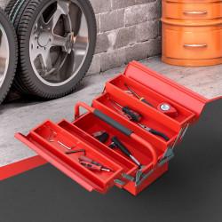 DURHAND Caixa de ferramentas dobrável de aço com 5 compartimentos com alça 45x22,5x34,5 cm Vermelho