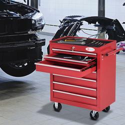 DURHAND Carro de Ferramentas com Rodas Caixa Oficina Fechadura tipo Móvel de Armazenamento para Oficina Garagem e Casa Chapa de Aço Vermelho - 69x33x77.2cm