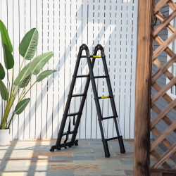DURHAND Escada Telescópica dobrável multiuso quadro em A 150kg Alumínio 320x67x7 cm Preto