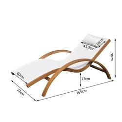 Espreguiçadeira para jardim terraço e piscina - cor branca - madeira -165x72x70cm