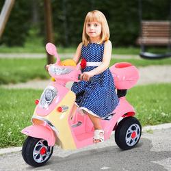 HomCom® Carro de triciclo Moto elétrica infantil com Bateria para crianças com mais de 3 anos 108x51x75cm Rosa