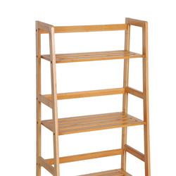 HomCom® Estante de Bambu 4 Níveis Estante em Escada de Casa de Banho Livraria Organizador 48x30x119cm
