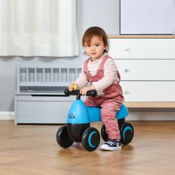 HOMCOM Andador para bebés acima de 18 meses tipo quadriciclo com 4 Rodas e Guidão 54x26x38cm Azul Preto