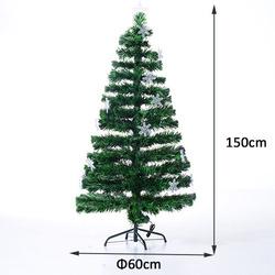 HomCom Árvore de Natal Verde Φ 60 x 150 cm + Luzes LED Árvore Artificial
