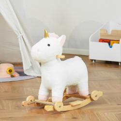 HOMCOM Baloiço Infantil em Forma de Unicornio para Crianças acima de 3 Anos Baloiço 2 em 1 com Rodas e Sons 45kg 63x38x63cm Branco