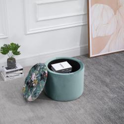 HOMCOM Banco de armazenamento Pufe ou apoio para os pés Redondo com tampa removível acolchoada e estofada Φ50x38 cm turquesa
