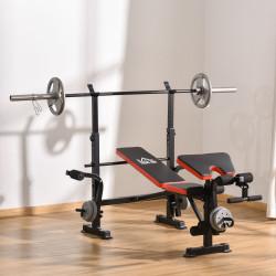 HOMCOM Banco de Pesos Multifuncional Banco de Musculação com Encosto Ajustável Suporte de Barras para Fitness Treinamento Completo 105x150x112cm Preto