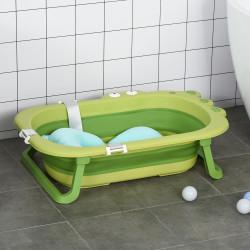HOMCOM Banheira Dobrável para Bebé Recém Nascido até 3 Anos 50L com Almofada Confortável e Pés Dobráveis 80x53,9x20,8cm Verde