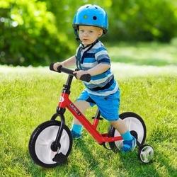 HOMCOM Bicicleta Balance com pedais e rodas removíveis Cor vermelha Assento ajustável 33-38cm Crianças +2 Anos Carga 25kg