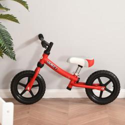 HOMCOM Bicicleta sem pedal para criança acima de 2 anos com selim ajustável em altura Pneus EVA máx. 25 kg Metal 65x33x46 cm Vermelho