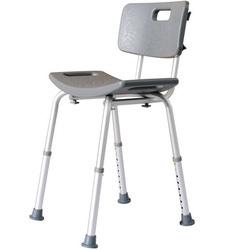 HOMCOM Cadeira de Duche Antiderrapante e Regulável para Banho WC- Cinzento e Prata- 55 x 50,6 x 67,5-85,5 cm (C x L x A)