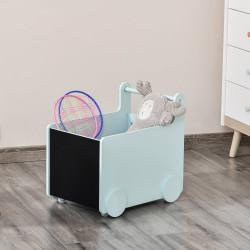 HOMCOM Caixa de Armazenamento de Brinquedos Infantil com Rodas Alça e 2 Lousas Baú de Armazenamento para Habitação de Crianças Escola Infantil Sala de Jogos 47x35x45,5cm Azul