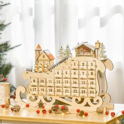 HOMCOM Calendário de Advento de Natal com Luzes LED e 24 Gavetas Decoração de Natal Modelo de Trenó 45x10x31cm Madeira Natural