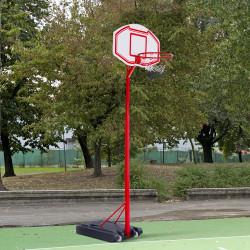 HOMCOM Cesta de basquete com altura ajustável de 210-260 cm com suporte de metal e base recarregável para crianças e adultos vermelho