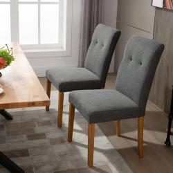 HOMCOM Conjunto de 2 Cadeiras de Sala de Jantar com Encosto Alto Assento Acolchoado e Estofados Tecido Transpirável com Tato de Linho 50x62x96cm Cinza
