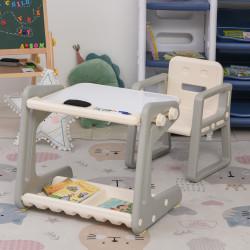 HOMCOM Conjunto de Mesa Conversível e Cadeira para Crianças acima de 12 Meses com 3 Marcadores e 1 Borracha 65x48x66,7 cm Cinza e Branco